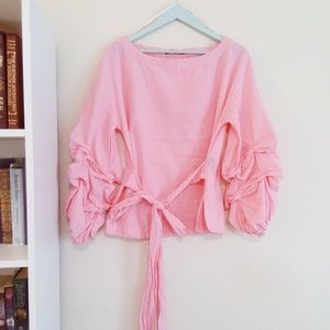 Max Jeans Pink Wrap Puffy Ruffle Sleeves Blouse